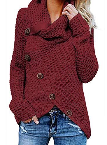 Yidarton Pullover Damen Warm Asymmetrische Strickpullover Rollkragenpullover Solid Wrap Gestrickt Langarmshirts Oberteile Causal (B-Weinrot, M)