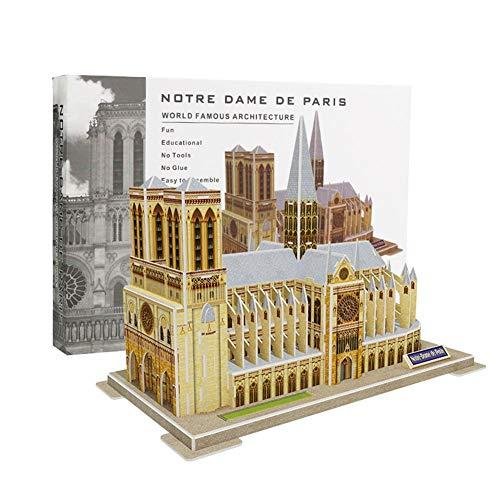 lossomly Puzzle 3D Catedral Kit De Puzzle Gift para Niños y Adultos (Notre Dame De Paris Grande) Regalo Commemorativo, 40 Piezas Compatible Accepted