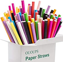Paper Straws 100% Biodegradable Colorful Straw Beautiful Cake Pop Sticks Disposable Straws OUOUPS