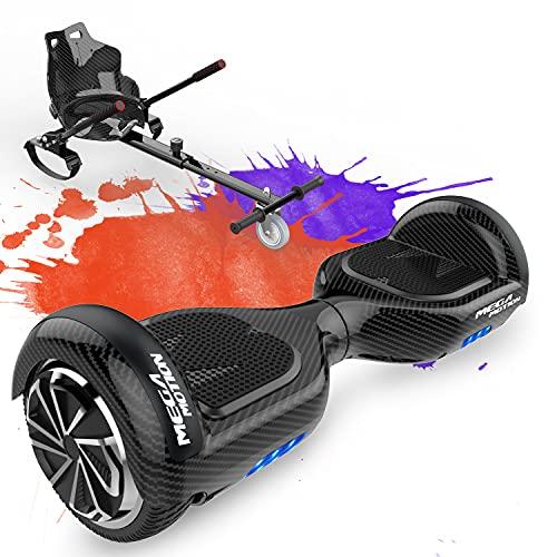MEGA MOTION Hoverboards con Asiento,Hoverboards Hover Scooter Board, Hoverboards con Silla, Hoverkart para Hoverboards 6.5 Pulgadas, con Altavoz Bluetooth y Luces LED, Regalos para niños
