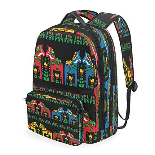 RXYY Rucksack, ethnisch, schwedisches Dala, Pferd, schwarz, Kunst, Rucksack, Umhängetasche, Laptoptasche, Reisetasche, Tagesrucksack, Wandern, für Mädchen, Jungen, Frauen, Männer, Kinder