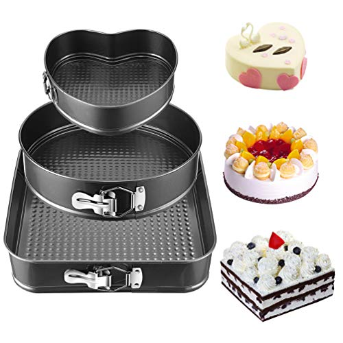 Springform Pan Set 3 Set,Non-stick Bakeware Cheesecake Pan, with Removable Bottom Leakproof Round Cake Pan, for Baker & Baking Enthusiast, Heart-shaped & Round &Square pan