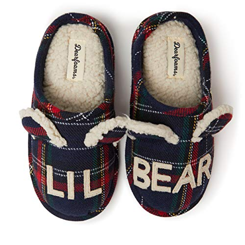 Dearfoams Kids Bear Clog Slippers (Lil Bear, Big Bro Bear, Big Sis Bear) – Cute, Cozy and Comfortable in Classic Patterns - Cushioned Insole with Memory Foam - Indoor/Outdoor Rubber Outsole, Lil Bear Blue Plaid, 4-5 Big Kid M US Big Kid