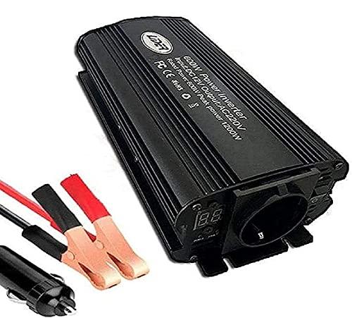 LIDER.-600W (1200W Pico) Inversor de Corriente Onda sinusoidad modificada, tranformador de DC24V/ a AC220V, Nuevo Diseño con Pantalla LCD, Toma Encendedor y Pinzas de bateria