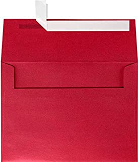 LUXPaper A9 Invitation Envelopes in 80 lb. Jupiter Metallic for 5 1/2 x 8 1/2 Cards, Printable Envelopes for Invitations, with Peel and Press, 50 Pack, Envelope Size 5 3/4 x 8 3/4 (Red)