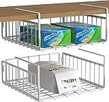 Simple Houseware 2 Pack Under Shelf Basket, White...
