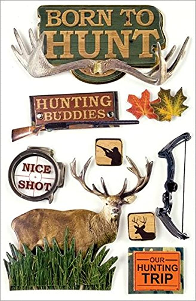 Paper House Productions STDM-0006E 3D Cardstock Stickers, Born To Hunt