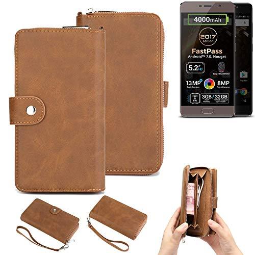 K-S-Trade® Handy-Schutz-Hülle Für Allview P9 Energy Lite (2017) Portemonnee Tasche Wallet-Case Bookstyle-Etui Braun (1x)