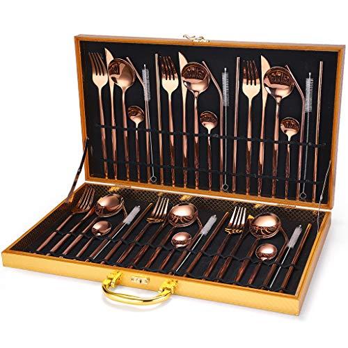 Set di posate da 42 pezzi, set di posate in acciaio inossidabile con forchetta per cucchiaio, coltello, servizio per 6, lucidatura a specchio, per casa/cucina/festa/viaggio (d'oro)