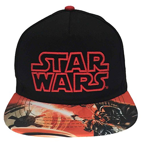Classic Star Wars Embroidered Logo Outline Youth Flatbill Hat Baseball Cap, Black