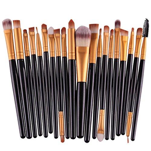 20 Pièces Pinceaux De Maquillage, Bonjouree Set De Pinceaux De Maquillage Professionnel (Noir)