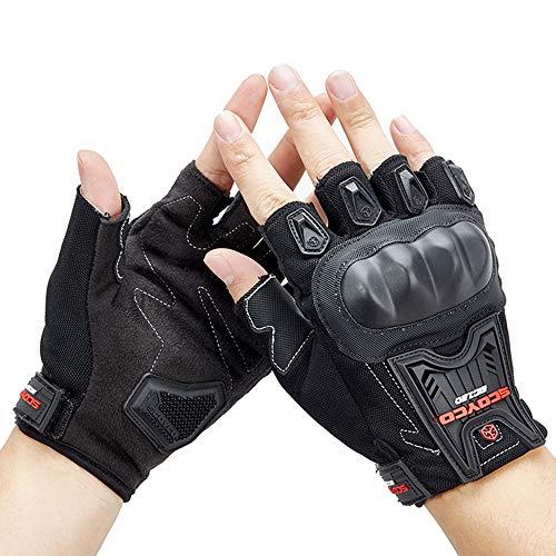 Guantes de Medio Dedo para Carreras de Motos Guante Sin Dedos de Verano de Motocross Off Road Guantes de Ciclismo,L