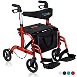 Health Line Massage Products 2 in 1 Rollator-Transport Chair w/Paded Seatrest, Reversible Backrest and Detachable Footrests, Cherry Red