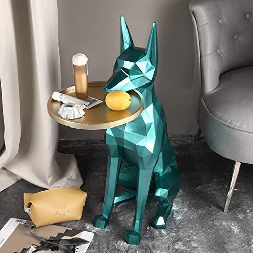 wenhui Kreatywny stolik pomocniczy dla psa, stolik kawowy zwierzęcy, dekoracja sypialni i salonu ozdoby rzemieślnicze, ochrona środowiska stolik nocny z żywicy (kolor: Zielony)
