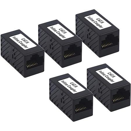 VCE LANケーブル 延長コネクタ RJ45中継アダプタ Cat6 Cat5e Cat5対応 UTP用 5個セット 黒
