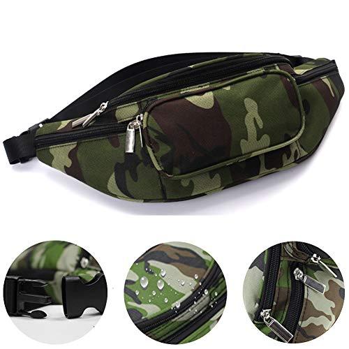 Riñonera impermeable, multifunción, con diseño de camuflaje, ajustable, con bolsillos con cremallera, para viajes, senderismo, correr, vacaciones, color camouflage, tamaño 33x13x10cm