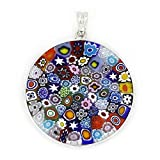 GlassOfVenice Colgante Millefiori de cristal de Murano Multicolor en marco de plata 1-1/4'