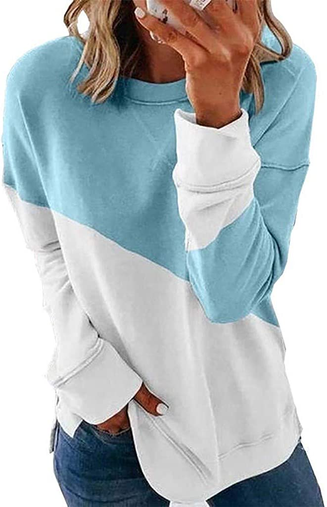 Womens Color Block Tunic Limited time sale Tops Crew Top ! Super beauty product restock quality top! Sleeve Shirts Long T Neck