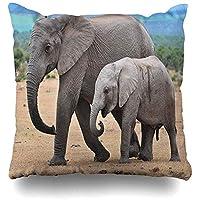 枕カバーを投げる子牛アフリカゾウが群れの公園を一緒に歩くトランクワイルドデザインホーム枕ケース正方形サイズ18x18インチジッパー式装飾枕カバー