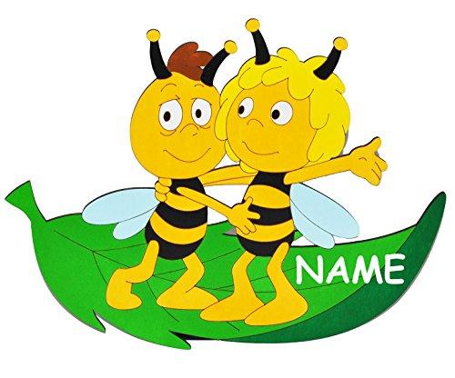 alles-meine.de GmbH die Biene Maja und Willi auf Blatt  - XL - Türschild / Wandbild / Wandtattoo - incl. Name - aus Holz - selbstklebend - Kinderzimmer / Aufkleber Wandsticker..