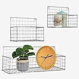 Set 3 Grey Metal Mesh Organizer Basket Shelf, Floating Shelves for Books, Small Wall Shelves, Small Organizer Shelf, Boho Decor