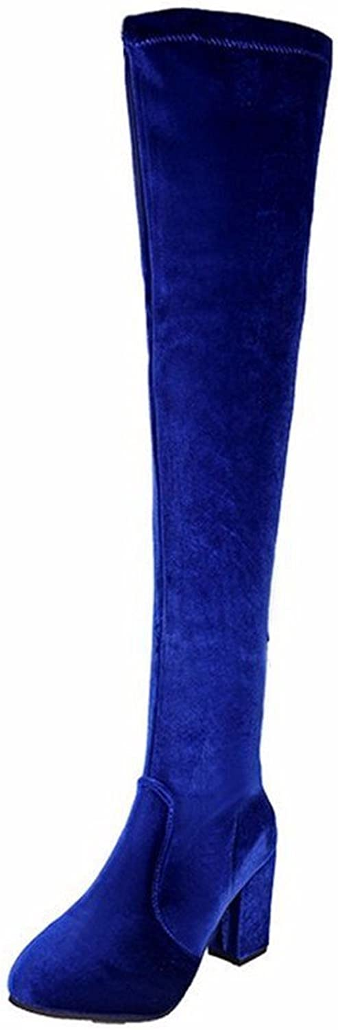 DIDIDD Women'S Boots with Thick Biker Boots Suede Sleeve Cross Knee High Boots in Autumn and Winter,34 Eu,bluee