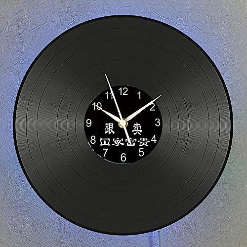 Reloj de pared con disco de vinilo de Mickey Mouse Reloj de pared LED de 12 pulgadas Lámpara de noche colgante creativa Reloj de pared luminoso de 7 colores.