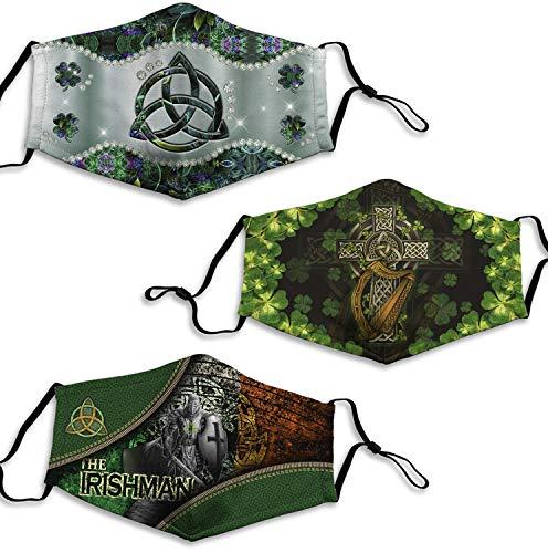 3PCS Irish Celtic Cross Lucky Shamrock Cloth Mask Green