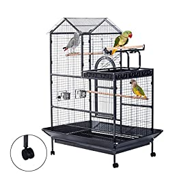Pawhut Large Parrot Cage Aviary Bird Canary Budgie Parakeet Feeding Wire Breeding Floor Standing Coop w/Wheels Black