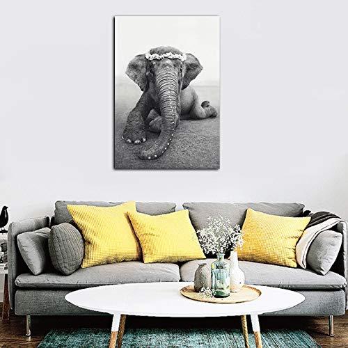 wZUN Stile Nordico Bianco e Nero Protezione Nazionale Pittura Elefante murale Stampe su Tela Immagini Decorazione della casa Poster di Animali 60x80 Senza Cornice