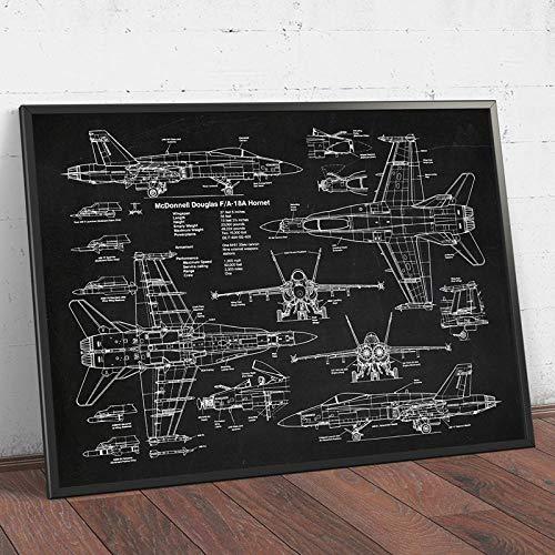 Aria Forza Aereo F18 Brevetto Poster Aereo Combattente Jet Blueprint Parete Arte Pilota Regalo Camera da Letto Casa Combattente Guida Tela Quadri Decoro (No Cornice)
