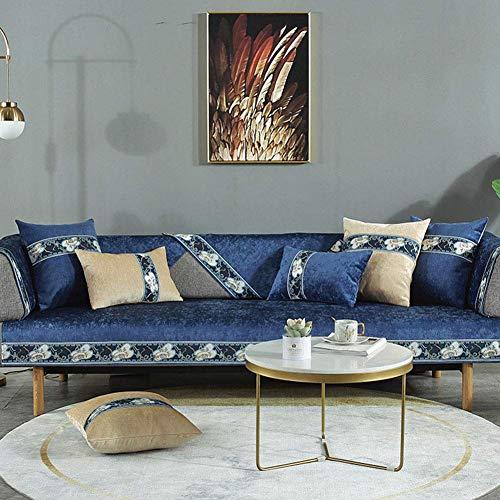 Fundas de sofá Gruesas Impermeables Antideslizantes, Funda antiacaros Suave Lavable, Funda de sofá Caterpillar, para sillón sillón Azul Oscuro 70x90cm (28x35 Pulgadas)