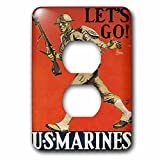 3dRose lsp_149420_6 Vintage Lets Go Us Marines Recruiting Poster Light Switch Cover