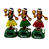 3個セット ゆらゆら ハワイ 人形 太陽電池 ソーラー フラガール ハワイアン 乾電池不要 3色 ;SOLA3-004