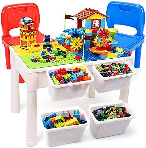 Tische Kinder Holztisch Spieltisch Studie Tisch Lernspielzeug Montiert Spielzeug Kinder Geschenke (Farbe   Farbe, Größe   60.5  41.5  43.5cm)