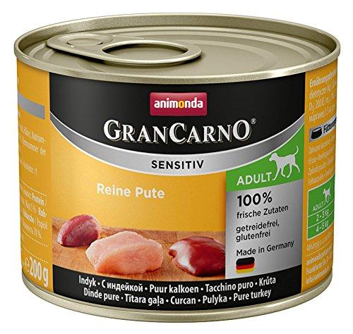 animonda GranCarno Hundefutter Adult Sensitiv, Nassfutter für ausgewachsene Hunde, Reine Pute, 6 x 200 g