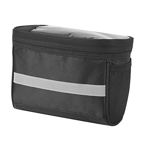 Bicycle Handlebar Bag, Multi Function Touch Screen Bike Handlebar Bag, with Reflective Stripe Two Mesh Pockets Multifunctional Bike Front Handlebar Bag