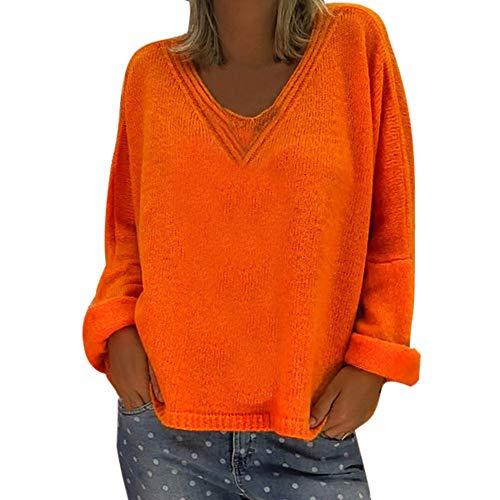 Pull Femme Sexy Pas Cher Chic Col V Maille Large Oversize à Manches Longues Automne Hiver Chaud Couleur Unie La Mode Decontracté Pullover Sweat (2XL(EU42), Orange)