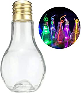 5pcs Clear Plastic Light Bulb Shaped Bottles Party Favors,100ml/400ml/500ml Juice Water Beverage Bottle Drink Cup, Cocktail Beer Terrarium Candy Jar with Bottom Glowing for Party Home Bar