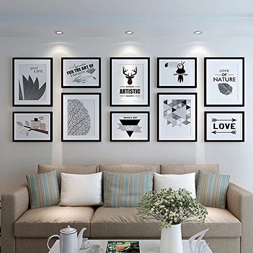 WUXK The Nordic photo wall frame wall living room minimalist modern decor picture frame photo frame wall photo wall combination of creativity, All Black - 2