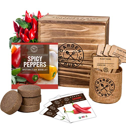 Indoor Garden Pepper Seed Starter Kit - 4 USDA Organic Hot Peppers Seeds for Planting, Pots, Planter Box, Scissor, Plant Markers - DIY Grow Your Own Vegetable Herb Growing Kits, Vegan Gardening Gifts