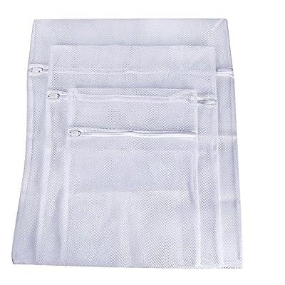 Mudder Laundry Bags, Zippered Mesh Washing Bags, Set of 3 (Big Mesh, White)