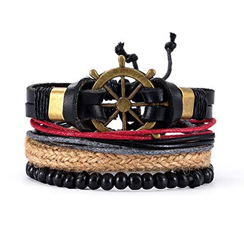 KIUY Pulsera de Cuero para Hombre - Pulsera de Brazalete Unisex Pulsera de Cuerda con Cierre de múltiples Capas, marrón y Negro,A9