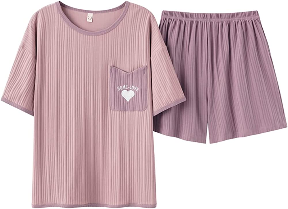 KINYBABY Girls Casual Pajama Sets Sleepwear Cute Heart Pattern Nightwear Short Sleeve Top with Short Bottoms (Y4586,16-18 Years/Tag XXL)