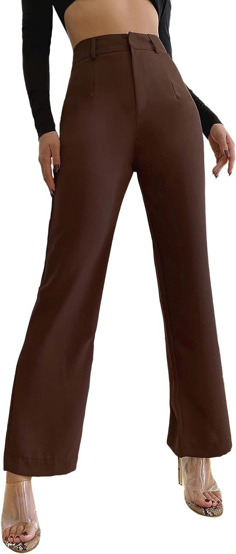 SweatyRocks Women's Elegant High Waist Solid Long Pants Office Trousers