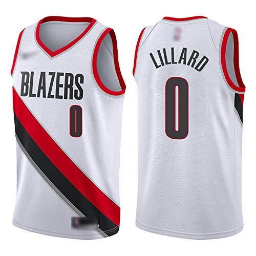 ATI-HSKJ # 0 Damian Lillard Basketball-Trikots Portland Trail Blazers Fans Männer Basketball Westen Weiß Classic Retro Sweatshirt Jersey BH204,M:170cm~175cm
