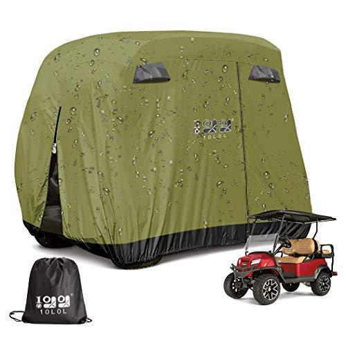 9.99WORLD MALL 10L0L Universal 4 Passenger Golf Cart Cover Storage Fit EZGO Yamaha Club Car 400D High Strength PVC Coated Rainproof Waterproof Sunproof Dustproof Protection - Green