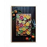 UIOLK Cartel de Comida Colorido Abstracto decoración nórdica Lienzo Pintura al óleo decoración de Cocina impresión de Frutas Arte de Pared Vegetal Navidad