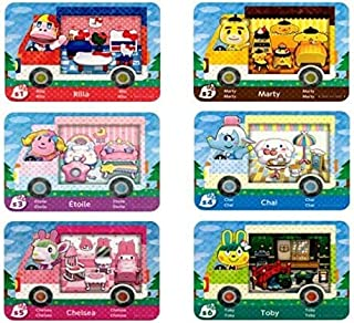 6pcs NFC Cards for Animal Crossing Sanrio NFC Amiibo Cards Collaboration Pack, (Rilla, Marty, étoile, Chai, Chelsea, Tob...