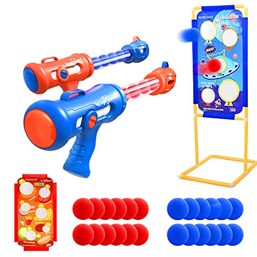 EagleStone Shooting Game Toy for Kids Foam Ball Popper Blaster Air Toy Guns 2 Player with 24 Foam...
